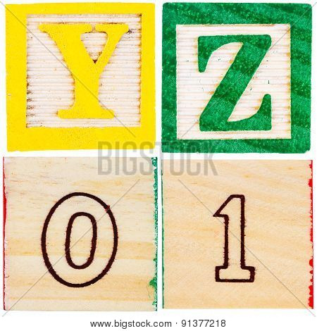 Wooden Toy Blocks With Letters And Numbers