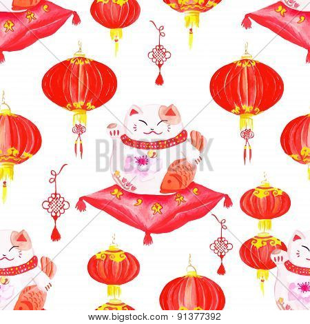 Oriental Print With Lanterns And Lucky Cats. Watercolor Seamless Vector.
