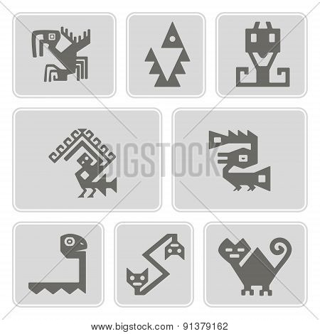 set of monochrome icons with American Indians relics dingbats characters (part 9)