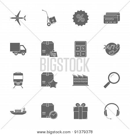 Logistics Silhouettes Icons Set