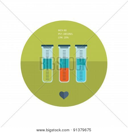 Test tube flat icon. Online medical diagnosis and medicine research.