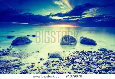 Vintage Photo Of Beautiful Landscape Of Rocky Sea Shore