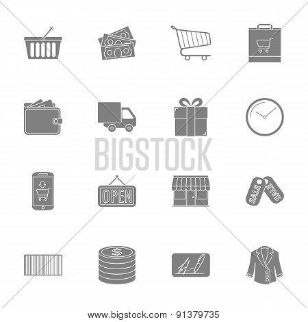 Shopping Silhouettes Icons Set