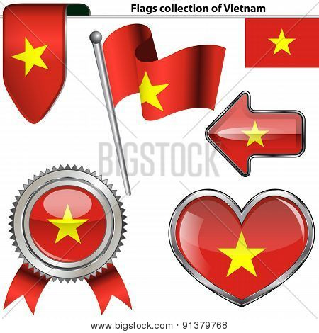 Glossy Icons With Flag Of Vietnam