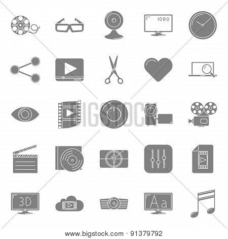 Video Silhouettes Icons Set