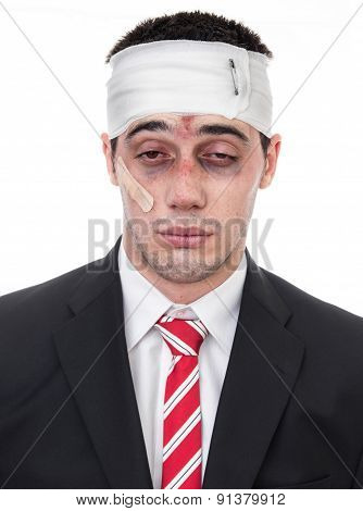 Man With Bruised Eyes And Head, Funny Businessman