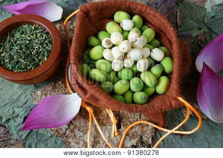 Collection Lotus Flower, Seed, Tea, Healthy Food