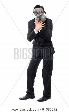 Choking Business Man With Gas Mask, Isolated On White