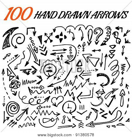 100 hand drawn arrow set made in vector.