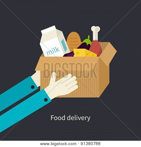Flat design colorful vector illustration concept for grocery delivery
