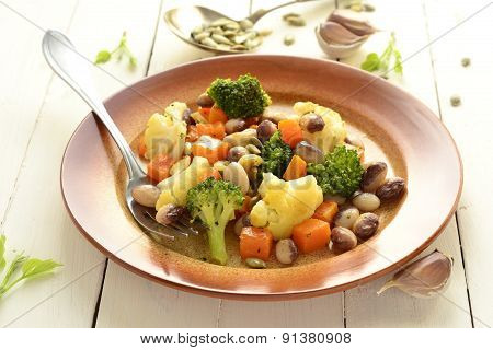 Broccoli cauliflower, squash and beans