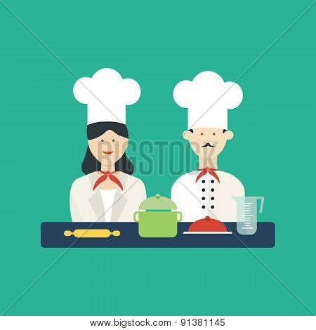 Flat design concept icons of kitchen utensils with a chefs.