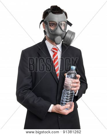 Business Man With Gas Mask Holding Bottle Water, Isolated On White