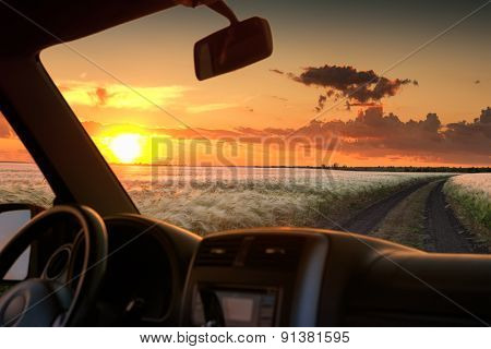 view from car window on field at sunset