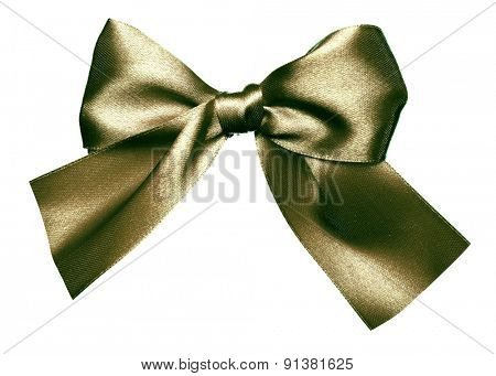 green bow made from silk isolated