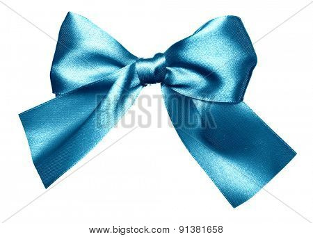 blue bow made from silk isolated