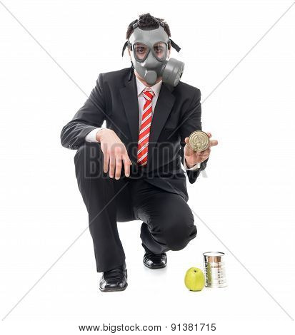 Business Man With Gas Mask Holding Conserve Food, Survival Concept