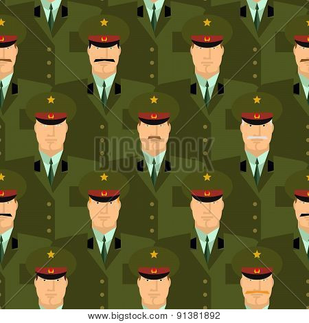 Russian military officers seamless pattern. Army background of people in uniform. Vector background.