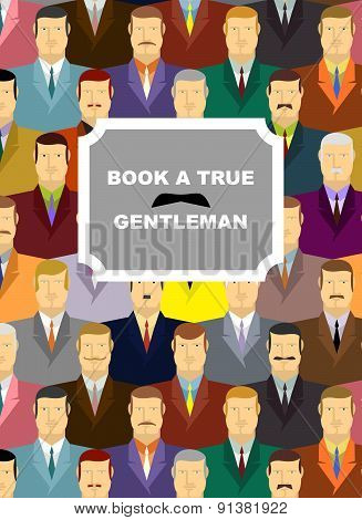 Book a true gentleman. Background for cover of  book. Mens in jackets and ties.