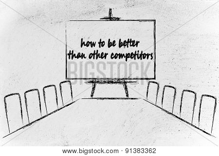 Management Board Meeting Room Discussion About How To Be Better Than Competitors