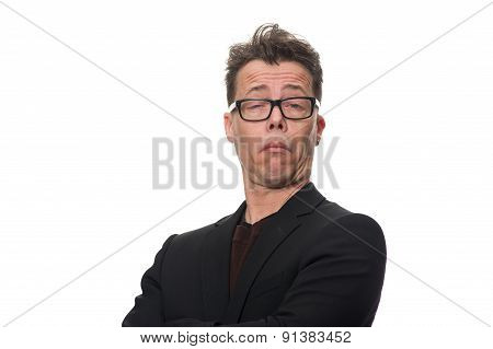Sceptical Middle Age Businessman Against White