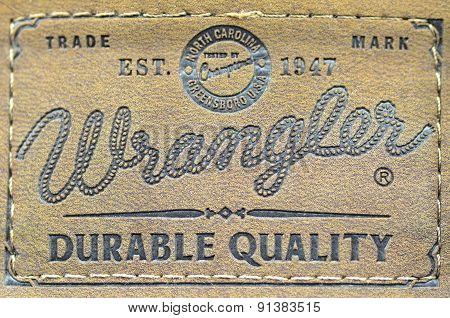 Closeup of Wrangler label on blue jeans