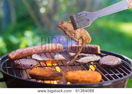 Grilled Meat On Bbq