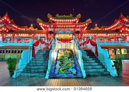 Thean Hou Temple At Night Time With Lanterns Decoration, Kuala Lumpur