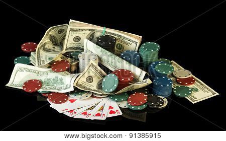 Poker chips and dollar bills
