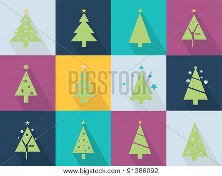 Icons set with christmas tree