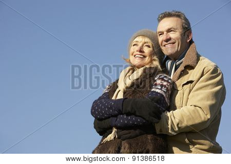 Portrait mature couple outdoors in winter