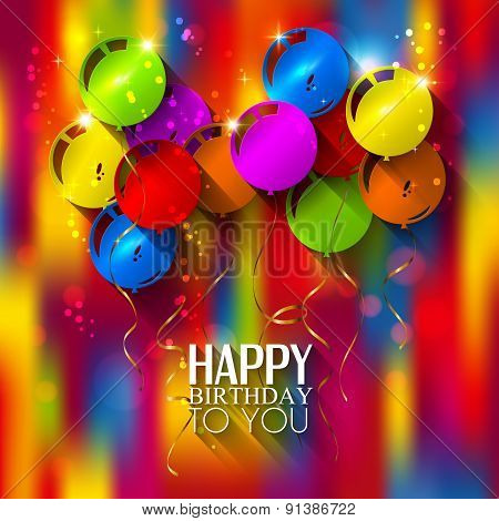 Birthday card with balloons and ribbons on multicolored background.