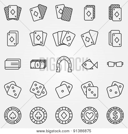 Thin line poker or casino icons vector set