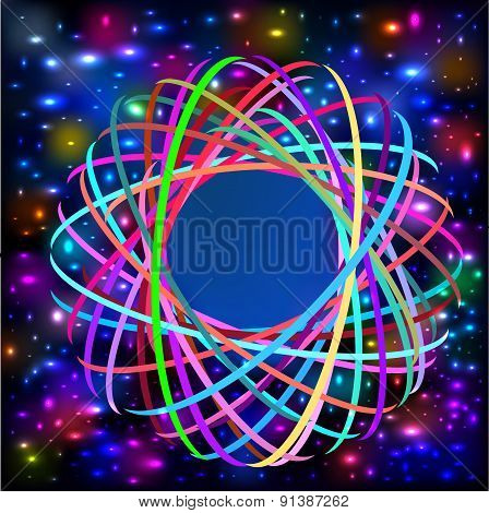 abstract background with colored circles intertwined and light effects