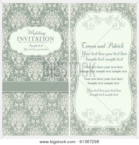 Baroque wedding invitation, green and beige
