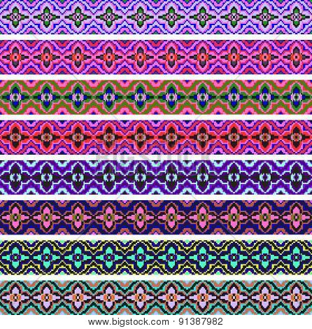 set of ornamental strips of colored geometric ornament