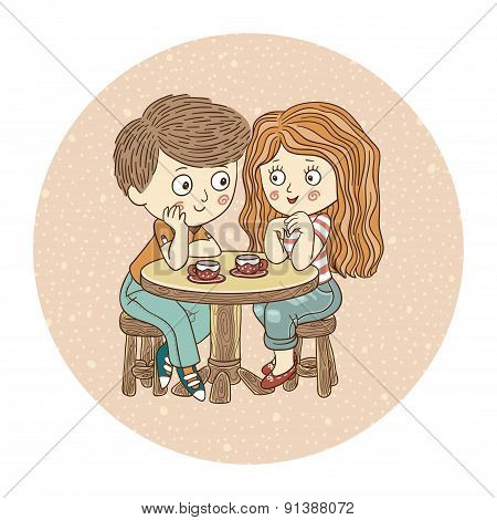 Color vector illustration: Boy and girl