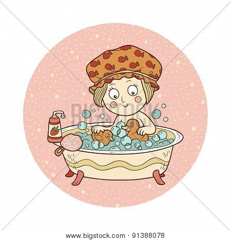 Vector Illustration: Little Girl In A Bathtub With Soap Bubbles