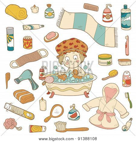 Set Of Vector Cartoon Bathroom Elements And Personal Hygiene Items