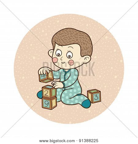 Vector illustration: little boy and cubes