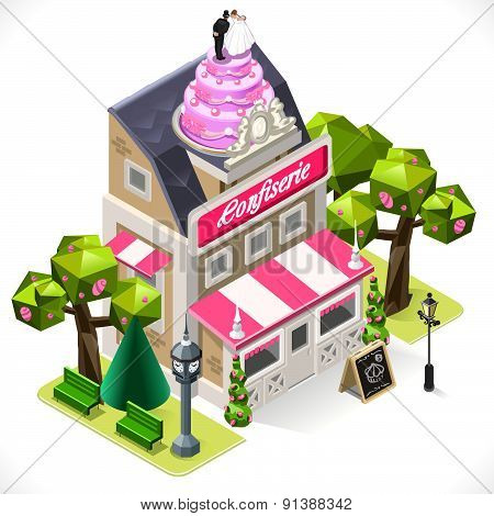 Pastry Shop City Building 3D Isometric