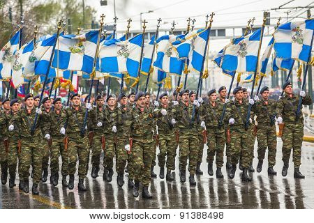 ATHENS, GREECE - MAR 25, 2015: Unidentified participants Independence Day of Greece is an annual national holiday, on this day, Greeks pay tribute to the heroes of the Revolution 1821-1829.
