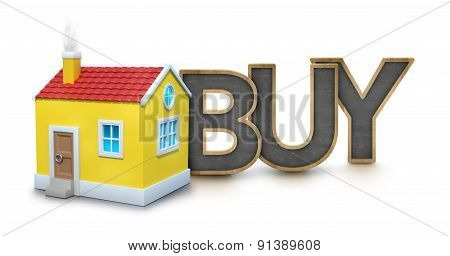Buy text with 3d house