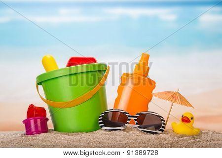 Beach set closeup