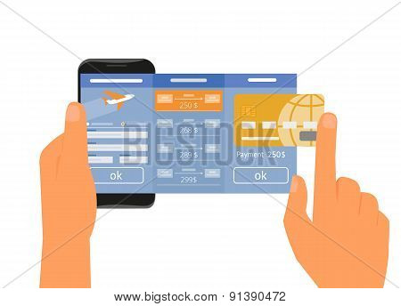 Mobile app for booking air passage