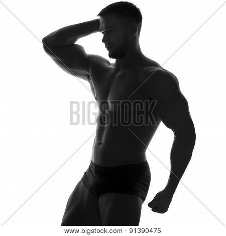 Sexy Slim Fit Man Body. Muscled Abdomen. Sportswear. Isolated On White. Black And White Image