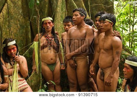 Huaorani tribe in the amazon rainforest, Yasuni National Park, Ecuador