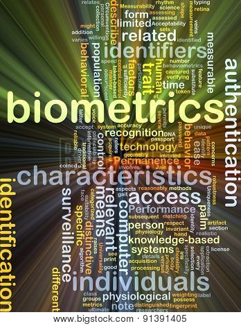 Background concept wordcloud illustration of biometrics glowing light