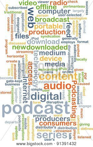 Background concept wordcloud illustration of podcast