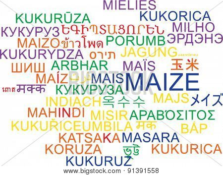 Background concept wordcloud multilanguage international many language illustration of maize
